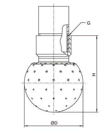 GEA Breconcherry Sprühkugel Gewindeanschluss Zeichnung Abmessungen